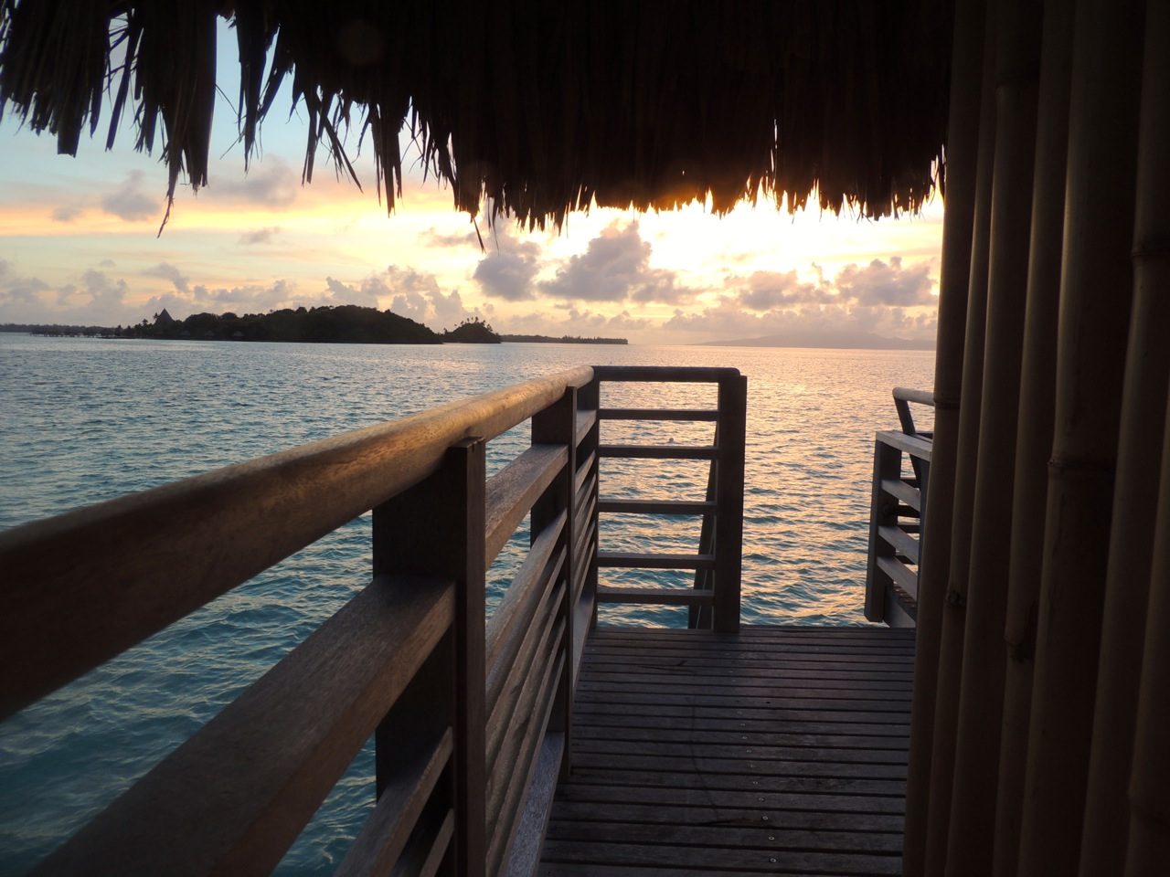 Sunrise view from our overwater bungalow.